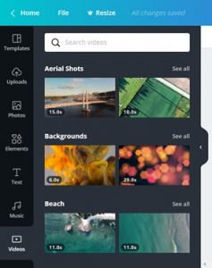 Canva functionaliteit Videos