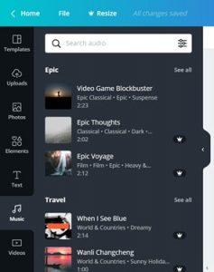 Canva gratis versie functionaliteit Music