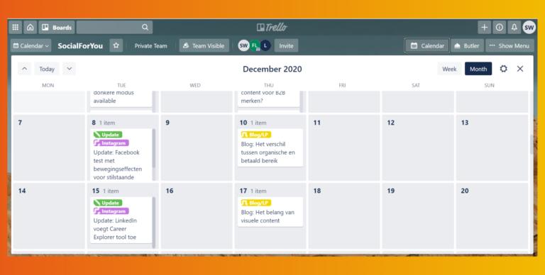 Trello social kalender weergave