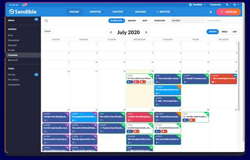 Sendible Kalender social media